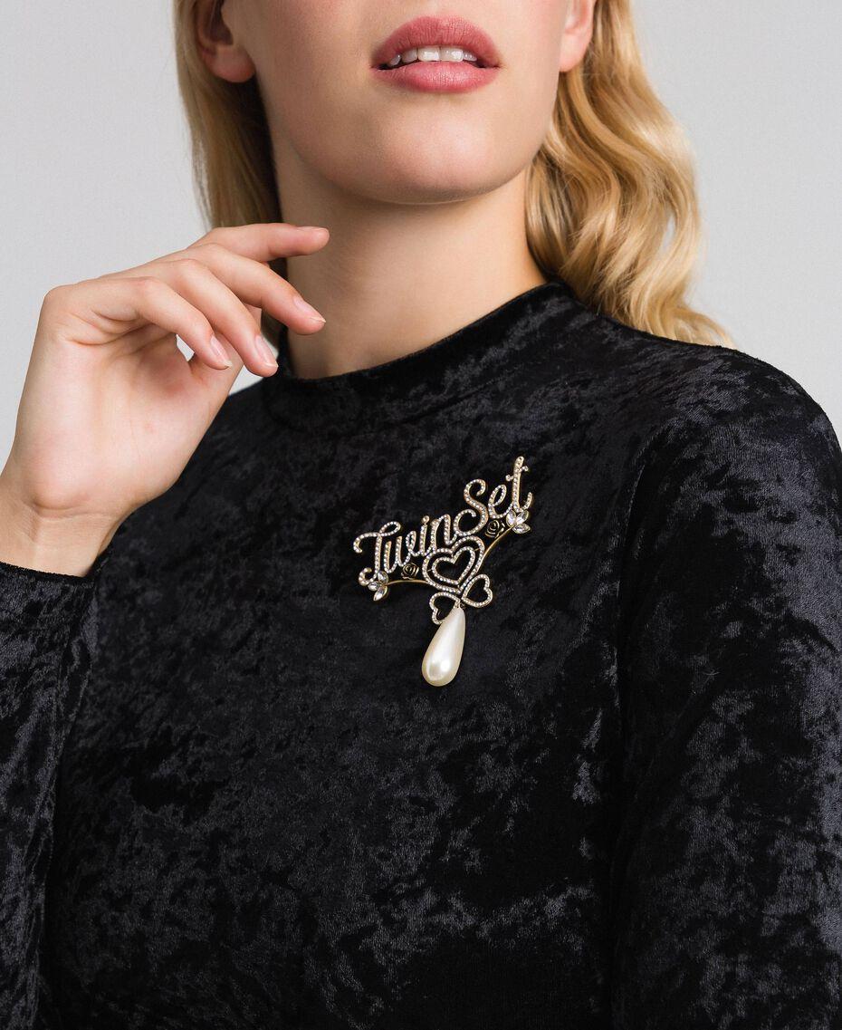 Broche avec logo en strass et pendentif Cristal Femme 192TO530G-0S