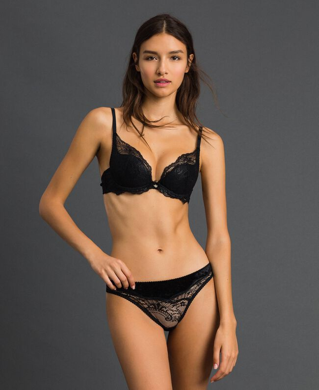 Laminated lace and velvet G-string Black Woman 192LL6H88-01