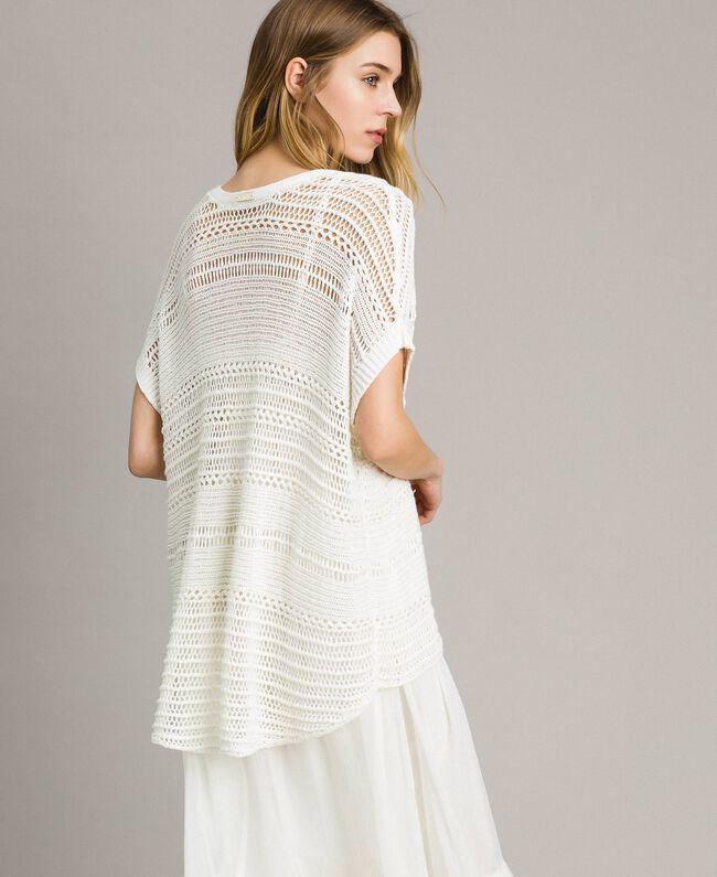 Oversized openwork knit poncho Ivory Woman 191LM3FJJ-03