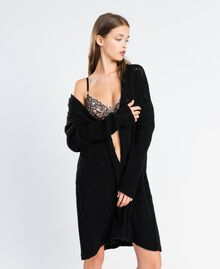 Maxicardigan aus Wollmischung Schwarz Frau LA8PAA-0S