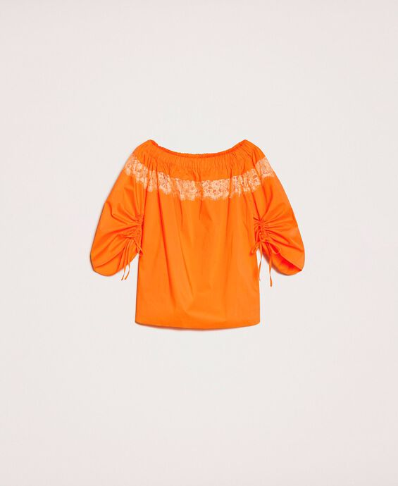 Poplin blouse with lace