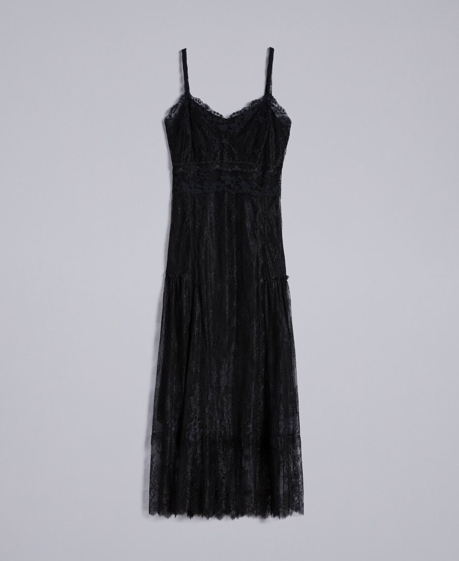 Robe longue en dentelle de Valenciennes multicolore Noir Femme PA82FP-0S