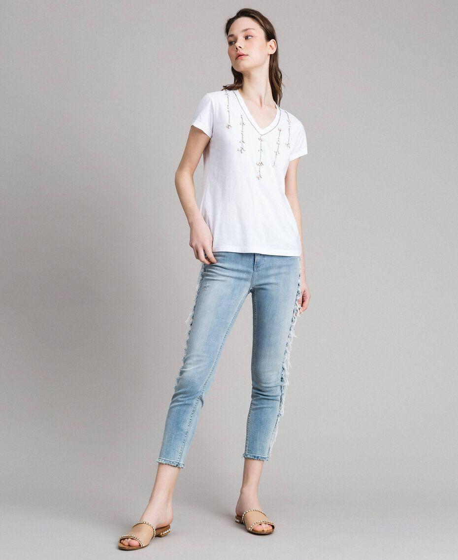 T-shirt avec pierres et strass Blanc Femme 191MT241G-02
