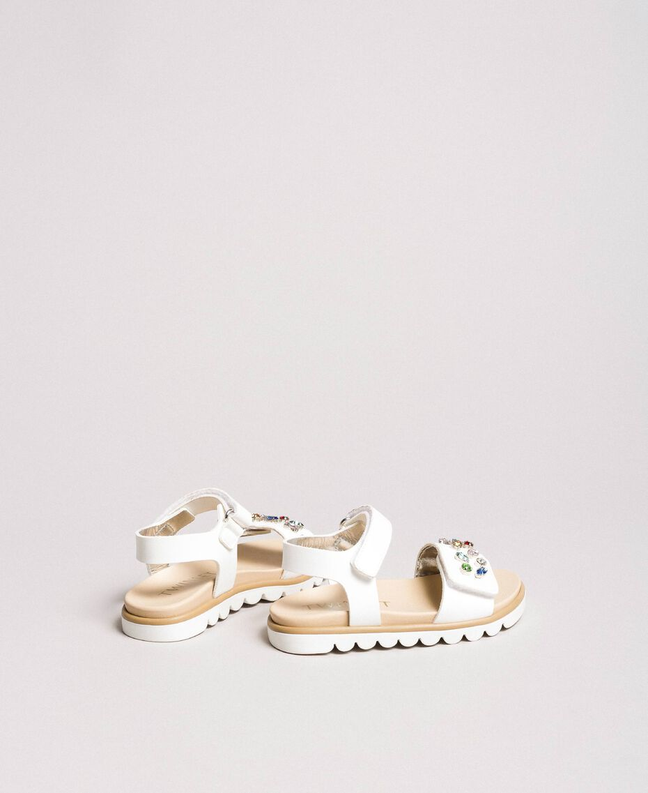 Sandals with multicolour stones White Child 191GCB150-02