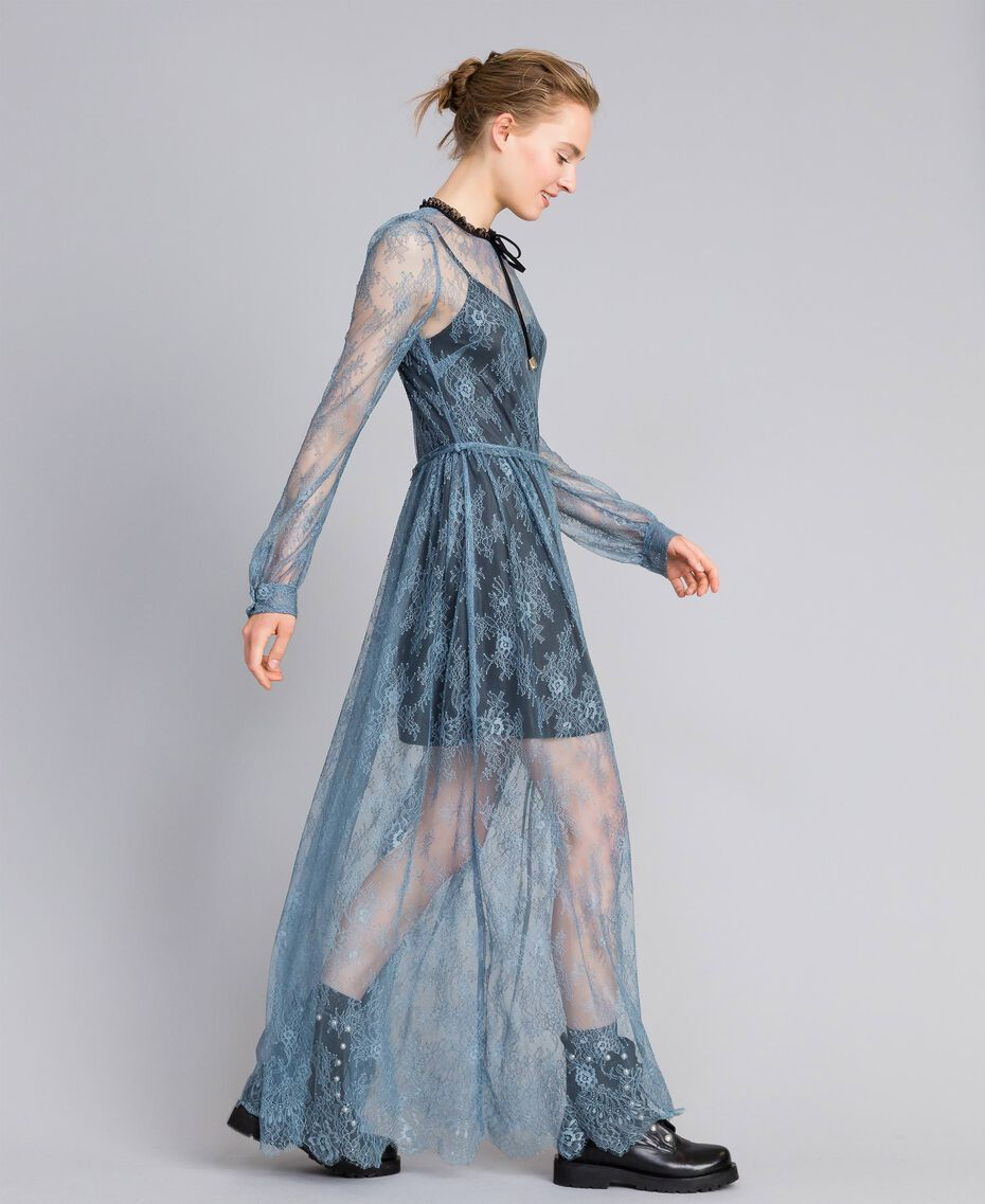 Long Valencienne lace dress Dusty Blue Woman PA82F2-02