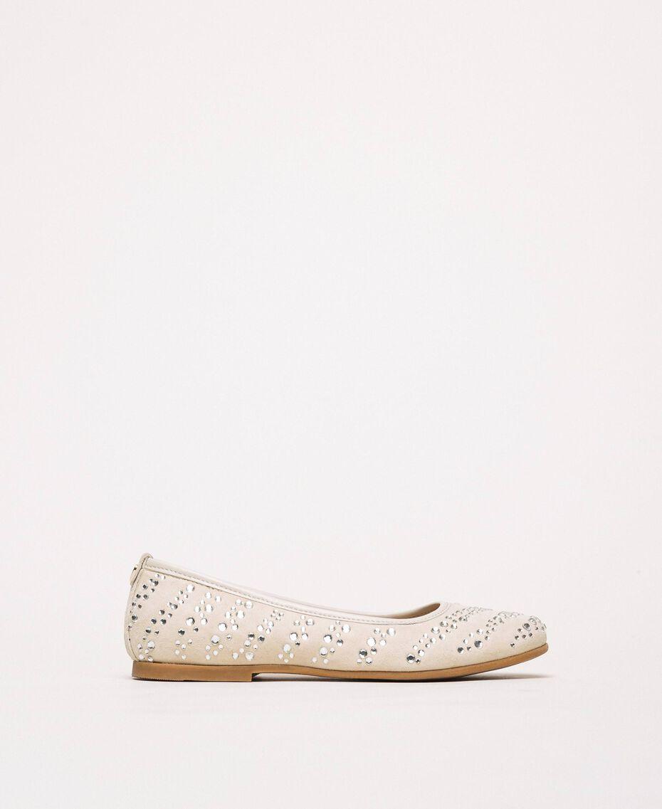 Suede ballerina shoes with rhinestones Pale Cream Child 201GCJ094-01