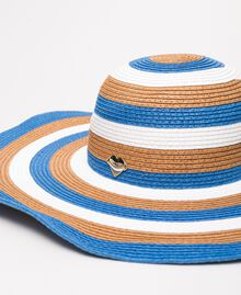 "Wide brim straw hat Multicolour ""Bay"" Blue / ""Choco"" Brown / Optical White Woman 201LM4ZPP-02"