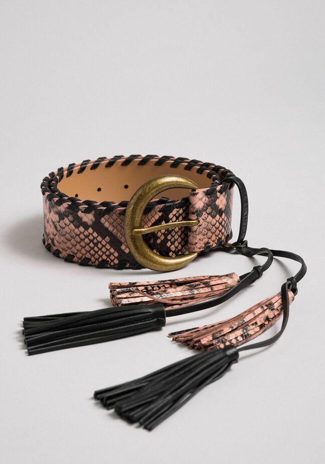 Cintura regular in pelle stampa pitone