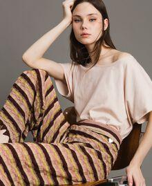 """Pantalon palazzo rayé en lurex Multicolore Marron """"Poudre De Bronze"""" Femme 191LB3AEE-05"""