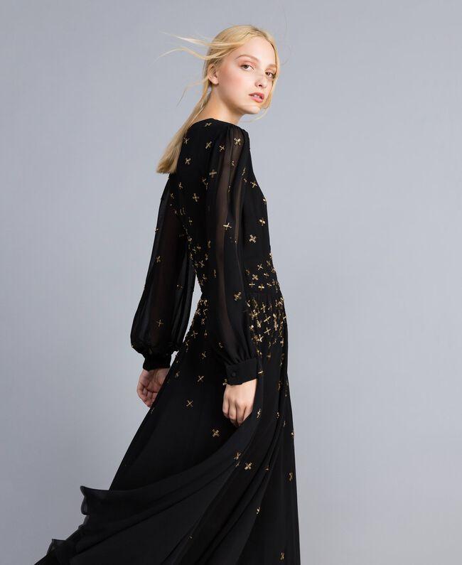 Robe longue en crêpe georgette avec broderie Noir Femme TA826A-01