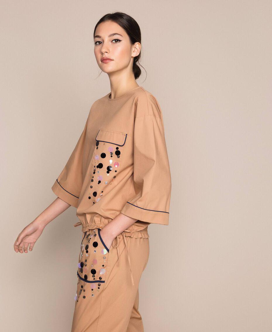 Blusa in popeline ricamo di paillettes Light Brown Donna 201ST2025-02