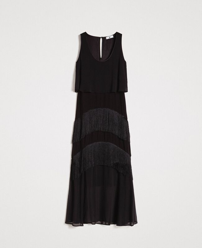 Long satin and chiffon dress with fringes Black Woman 191LM2BDD-0S