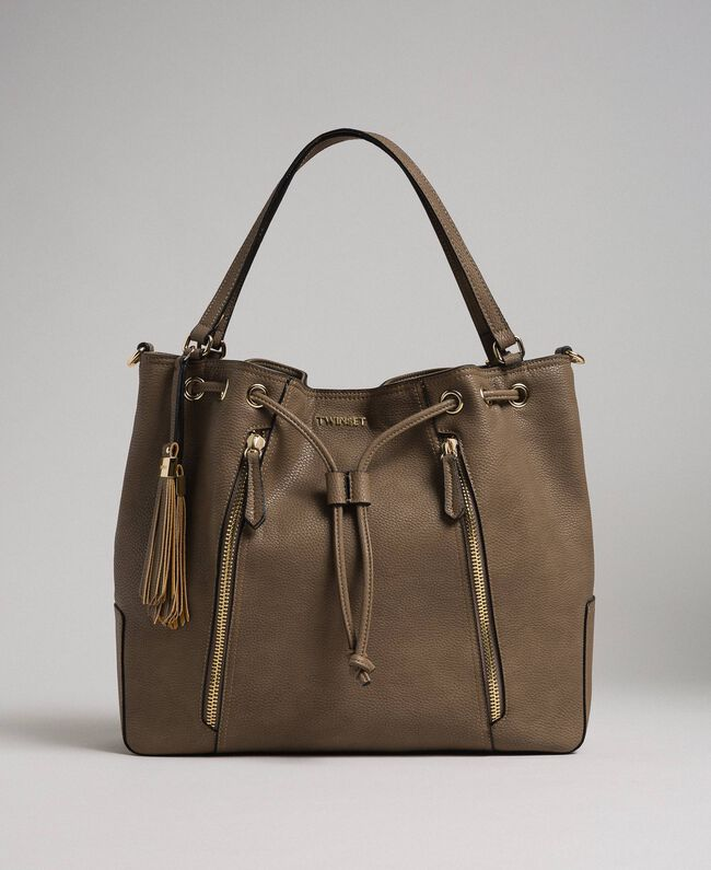Large faux leather bucket bag Turtledove Woman 192TA7144-03