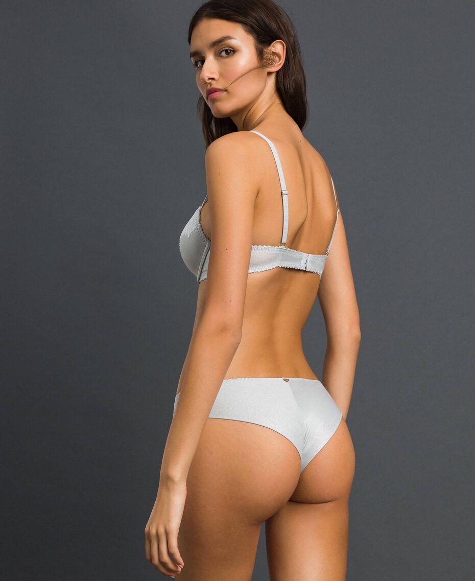 Culotte brésilienne en lurex avec dentelle incrustée Gris Lurex Argent Femme 192LL6B77-03