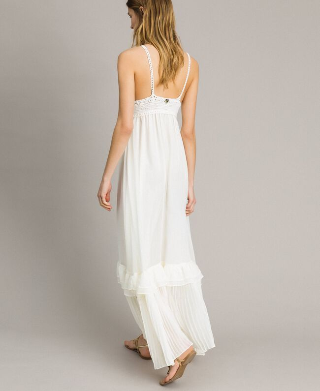 Long dress with crochet top Ivory Woman 191LM2NDD-04