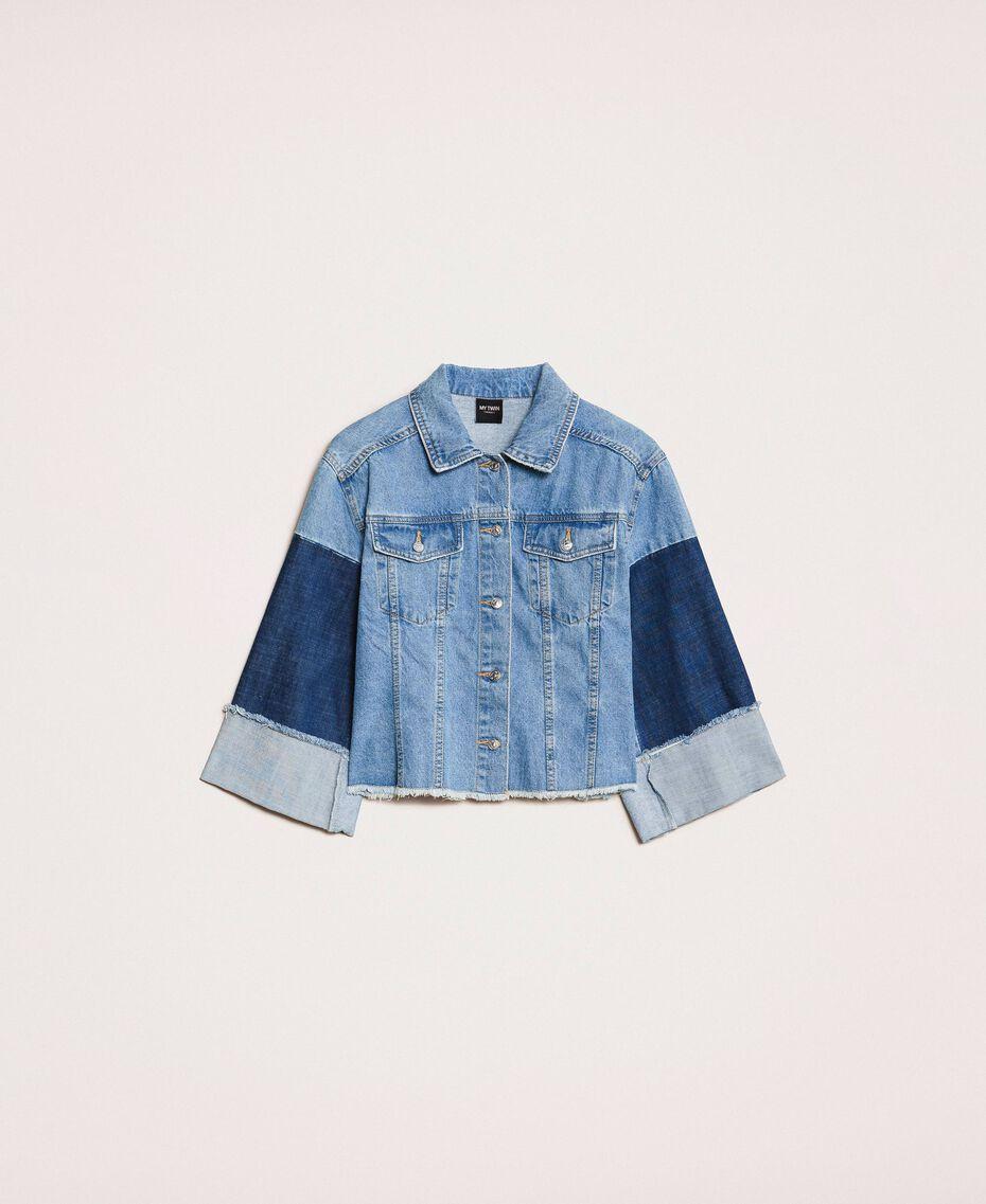 Blouson boxy en jean color block Bleu Denim Femme 201MP2290-0S
