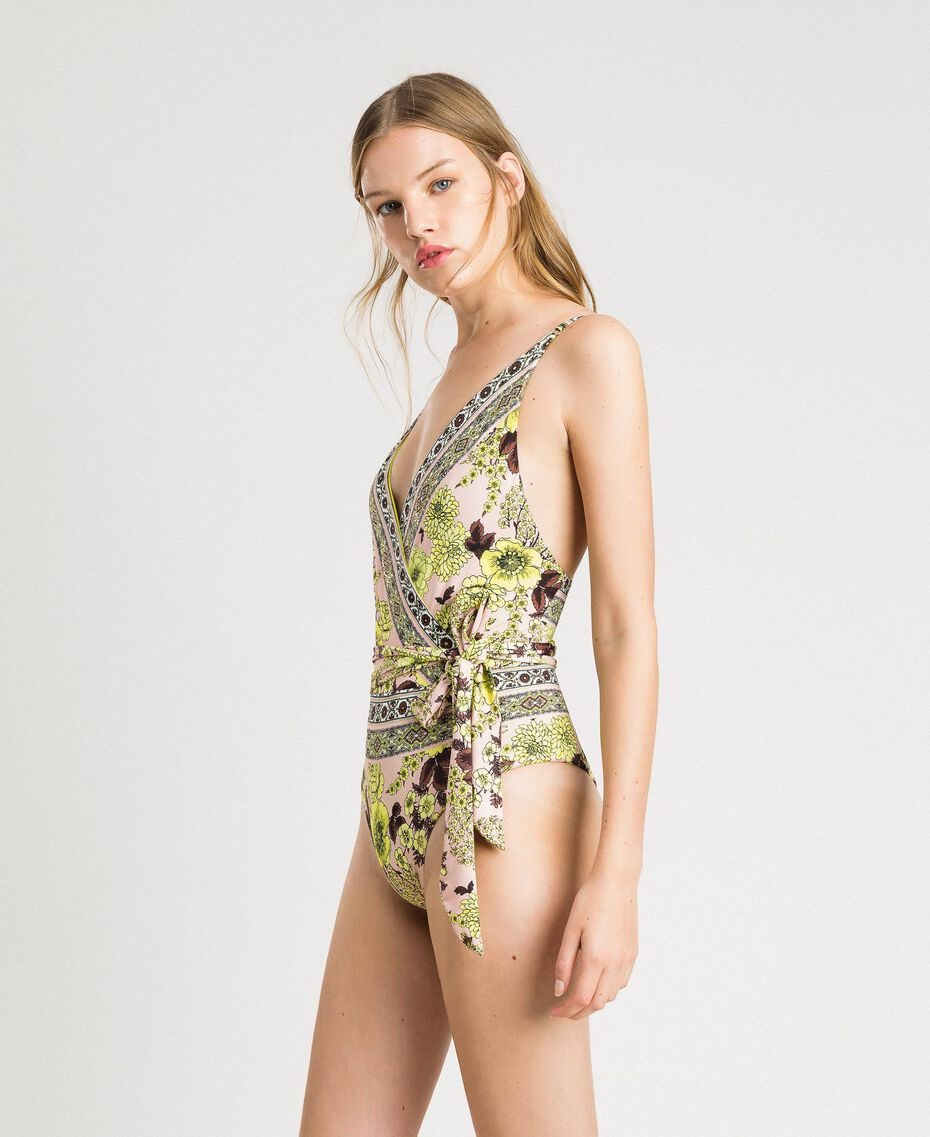 """One-piece swimsuit with a shawl print """"Lemon Juice"""" Yellow Scarf Print Woman 191LBMH00-02"""