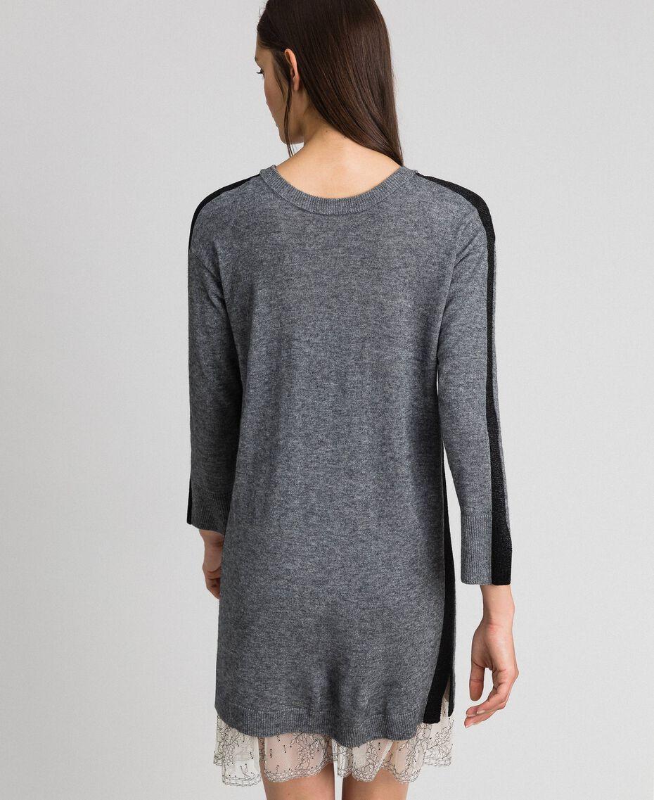 Robe avec bandes en lurex et fond de robe Gris moyen chiné Femme 192MP3100-03