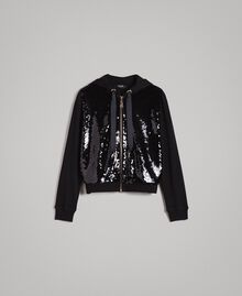 Sweatshirt with hood and sequins Black Woman 191MP2076-0S