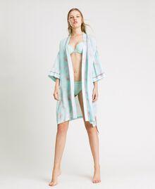 Robe de chambre en jacquard à imprimé floral Imprimé Feuilles Bleu Mousse Femme 191LL2FDD-0S