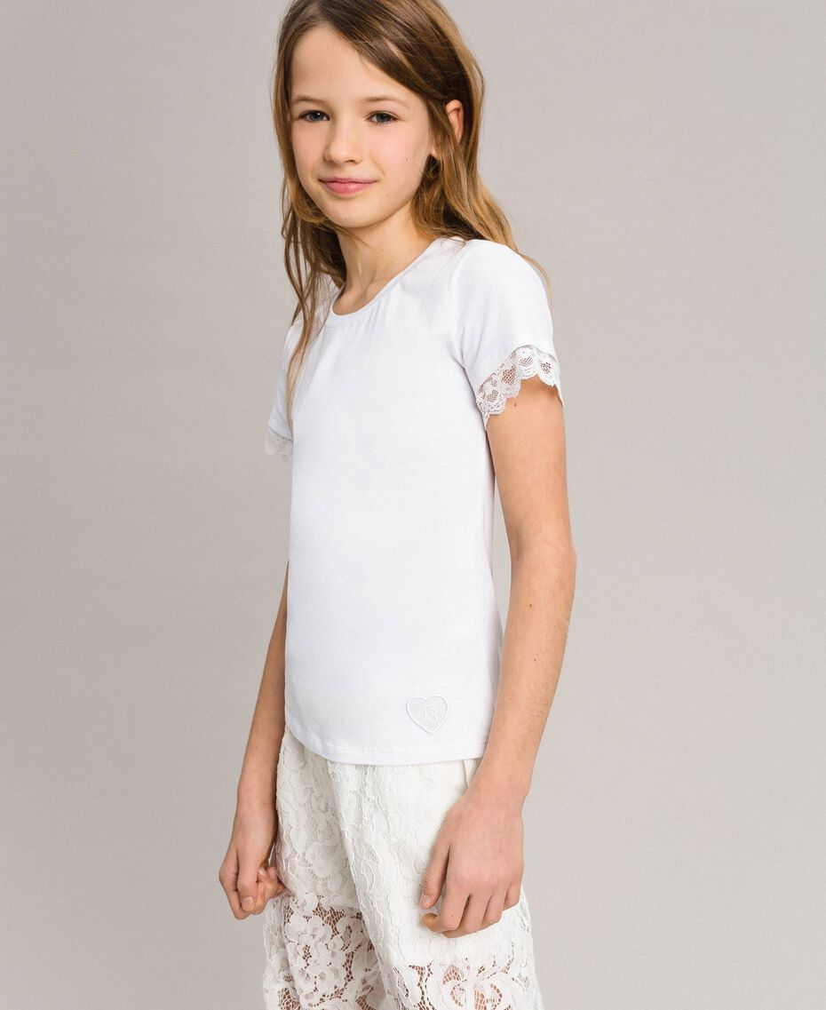 Jersey T-shirt with lace White Child 191GJ2180-0S