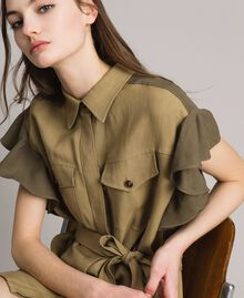 "Natural canvas two-tone shirt dress Two-tone ""Olive"" Green / Antique Bronze Woman 191TT2440-01"