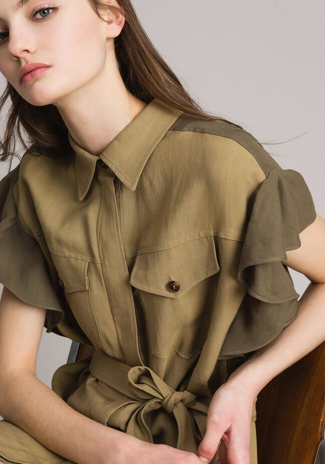 Robe chemise en toile naturelle bicolore