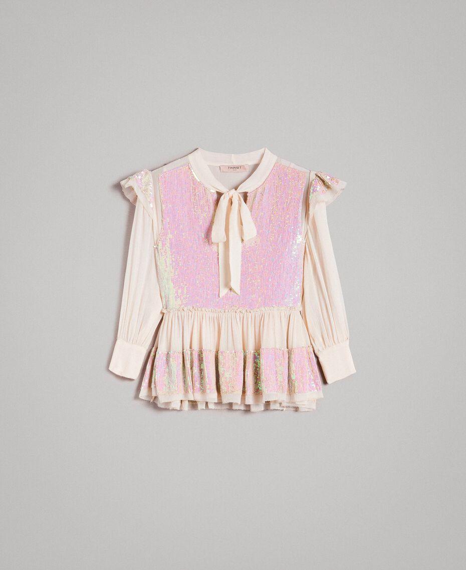 Georgette-Bluse mit Pailletten Blütenknospenrosa Frau 191TP2582-0S