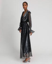 Long dress in metal creponne tulle Black / Silver Woman 192MT2141-02