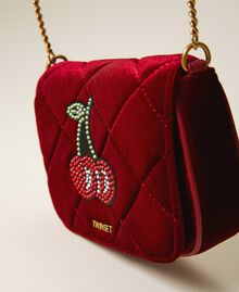 Velvet shoulder bag with patch Black Woman 202TD8280-02