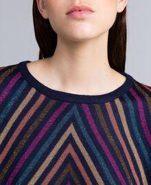 Pullover aus Lurexjacquard mit mehrfarbigem Streifenmuster Jacquard Blau / Lurexstreifen Frau TA838H-05