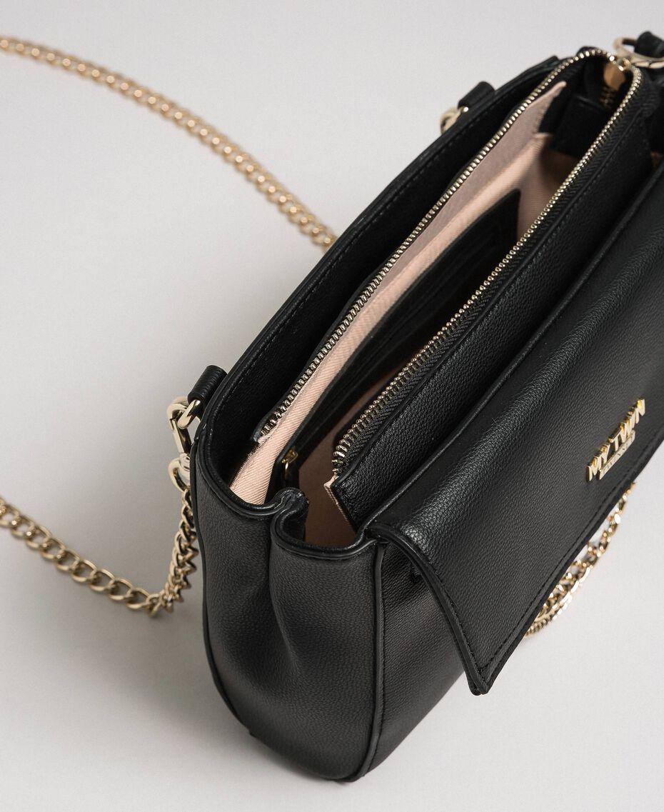 Sac à bandoulière en similicuir avec perles et chaînes Noir Femme 192MA7052-05
