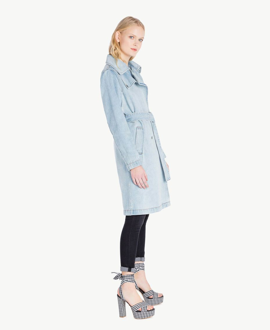 Denim trench coat Denim Blue Woman JS82TZ-02
