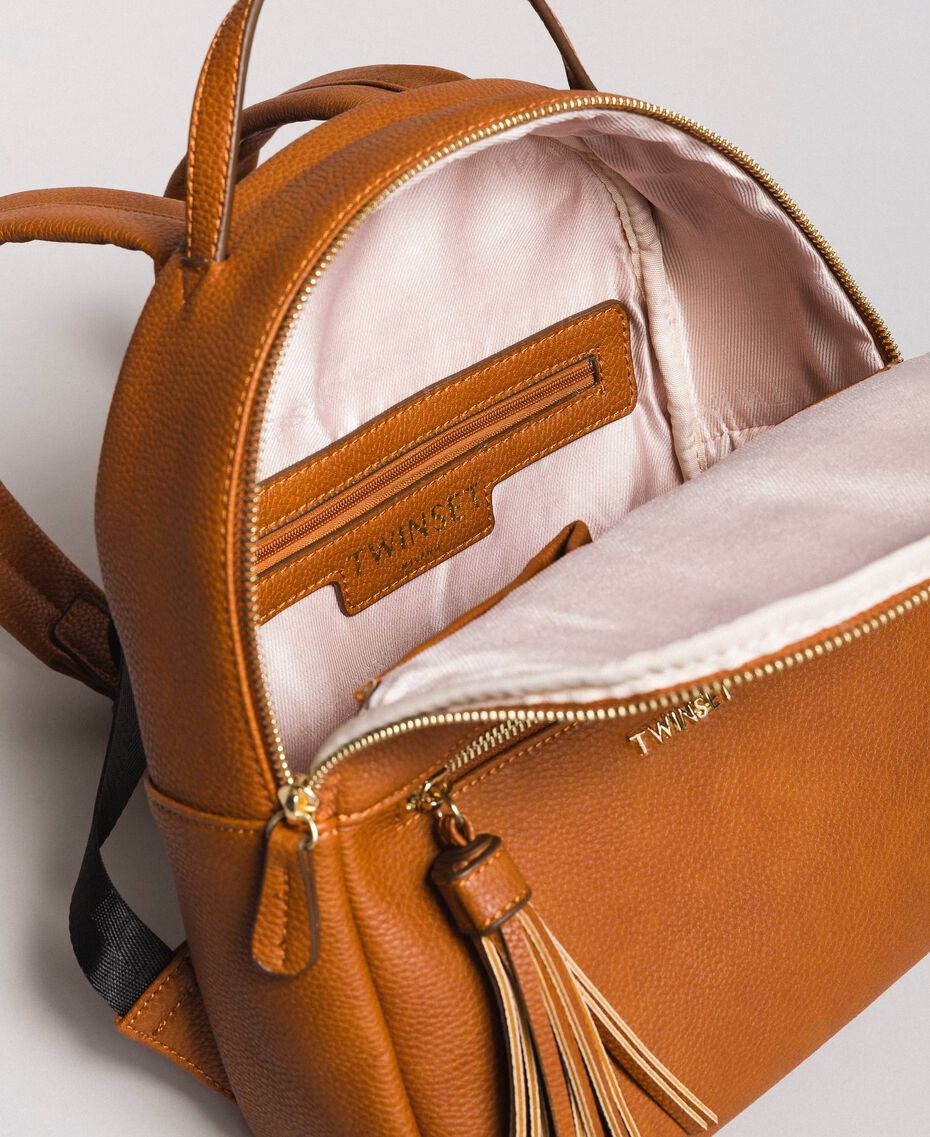 Faux leather backpack with tassel Leather Brown Woman 191TA7603-05