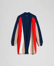 Maxi cardigan en mélange de laine et alpaga Rouge «Corail» / Bleu / Beige Femme 192MT3073-0S