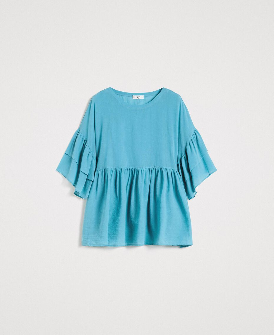 Wide sleeve blouse with flounce Daylight Blue Woman 191LM2HCC-0S
