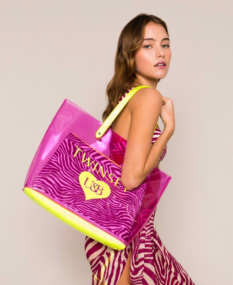 Beach bag with pochette Flirty Rose Multicolour Print Woman 201LB7GTT-0S