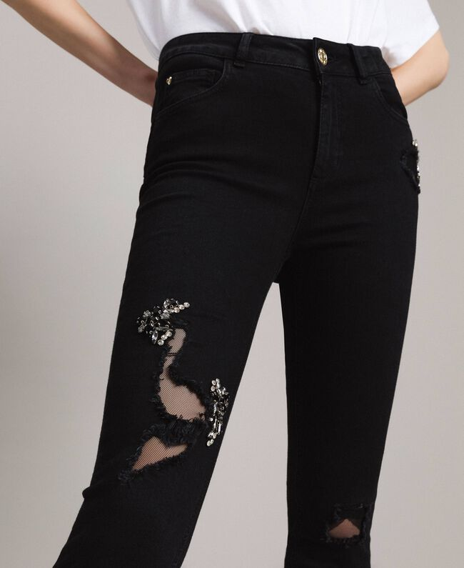 Skinny jeans with tulle patches and embroideries Black Denim Woman 191MP2422-04