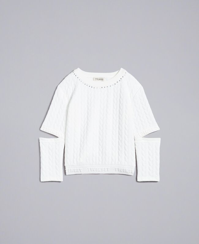 Sweat matelassé avec strass Off White Enfant GA82NN-01