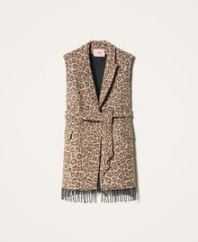 Animal print jacquard wool cloth waistcoat Walnut / Tobacco Animal Print Jacquard Woman 202TT213B-0S