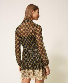 Robe en crépon avec imprimé de chaînes Imprimé Grande Chaîne Noir / Ivoire Femme 202TT221C-04