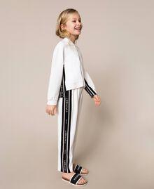 Plush jumpsuit with jacquard logo Bicolour Off White / Black Child 201GJ237B-04