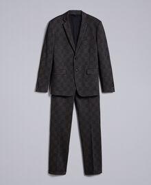 Completo giacca e pantalone stampato Stampa Quadri Grigio Melange Uomo UA82BN-0S