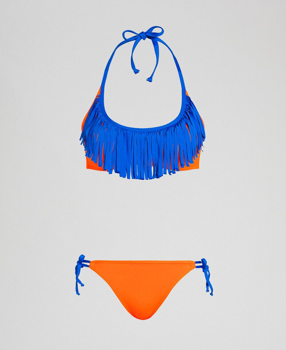 Bikini with fringes Fluorescent Orange / Fluorescent Blue Woman 191TQM024-01