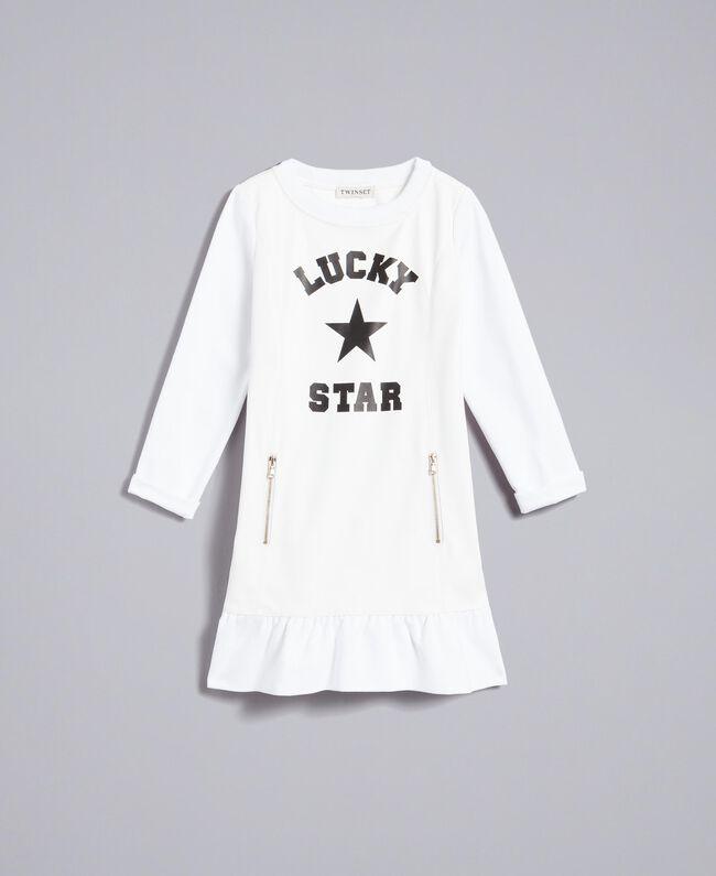 Kleid aus Lederimitat und Interlock-Jersey Mattweiß Kind GA82LU-01