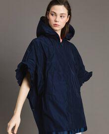 Taffeta poncho with hood Blue Shadow Woman 191ST2010-05