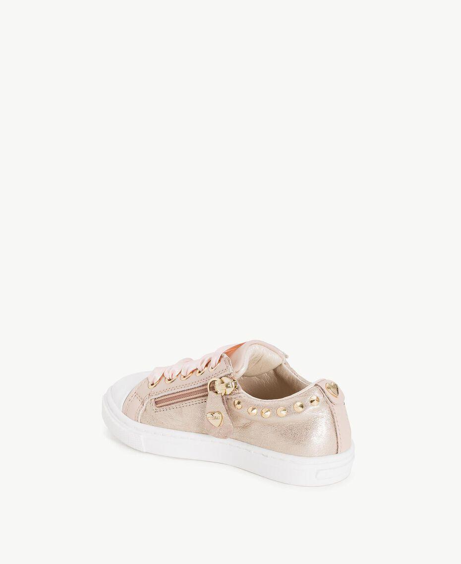 Sneaker mit Nieten Blütenknospenrosa Kind HS86AN-03