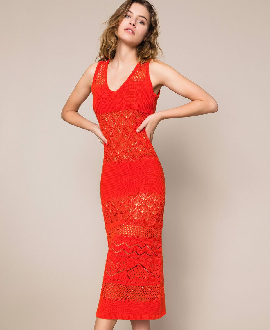 "Openwork long dress with sequins ""Ace"" Orange Woman 201LM3AAA-02"
