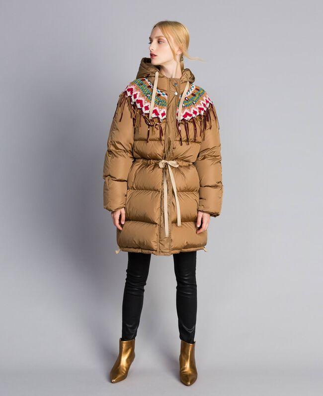 Piumino lungo con inserto in maglia Camel Donna QA8TED-04