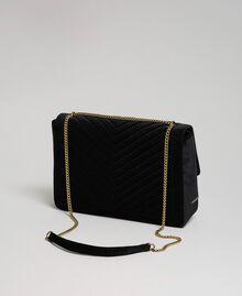Grand sac à bandoulière en velours Noir Femme 192TO8070-02